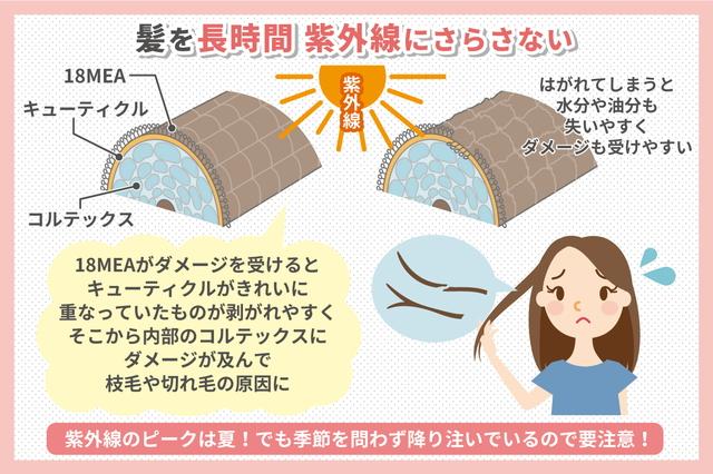 髪を長時間紫外線にさらさない