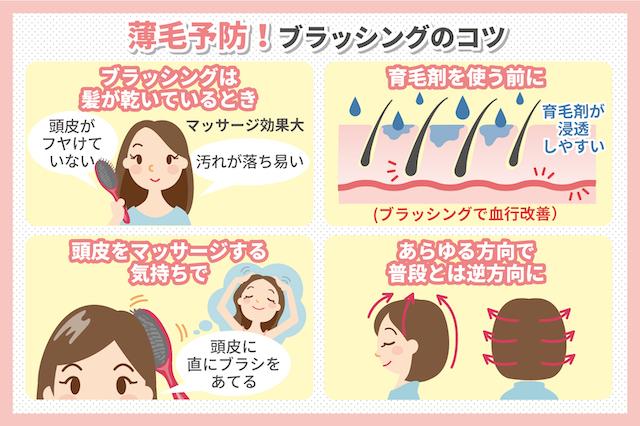 女性の薄毛予防に効果的なブラッシング方法4つのコツ